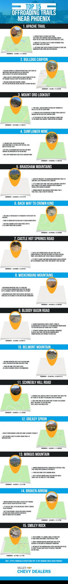 Valley Chevy Dealers - 15 Best Off-Road Trails Near Phoenix Infographic