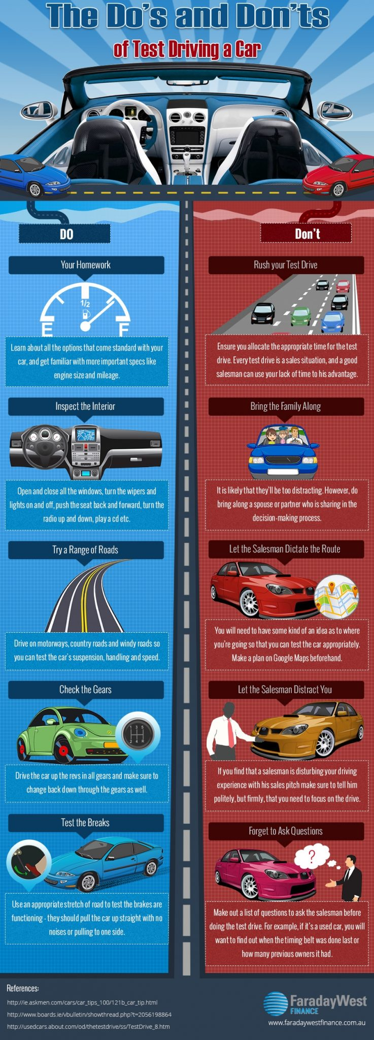 Valley Chevy - The Dos & Don'ts of Test Driving a Car Infographic