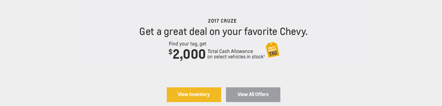 Valley Chevy - Chevy Cruze Tag Bonus