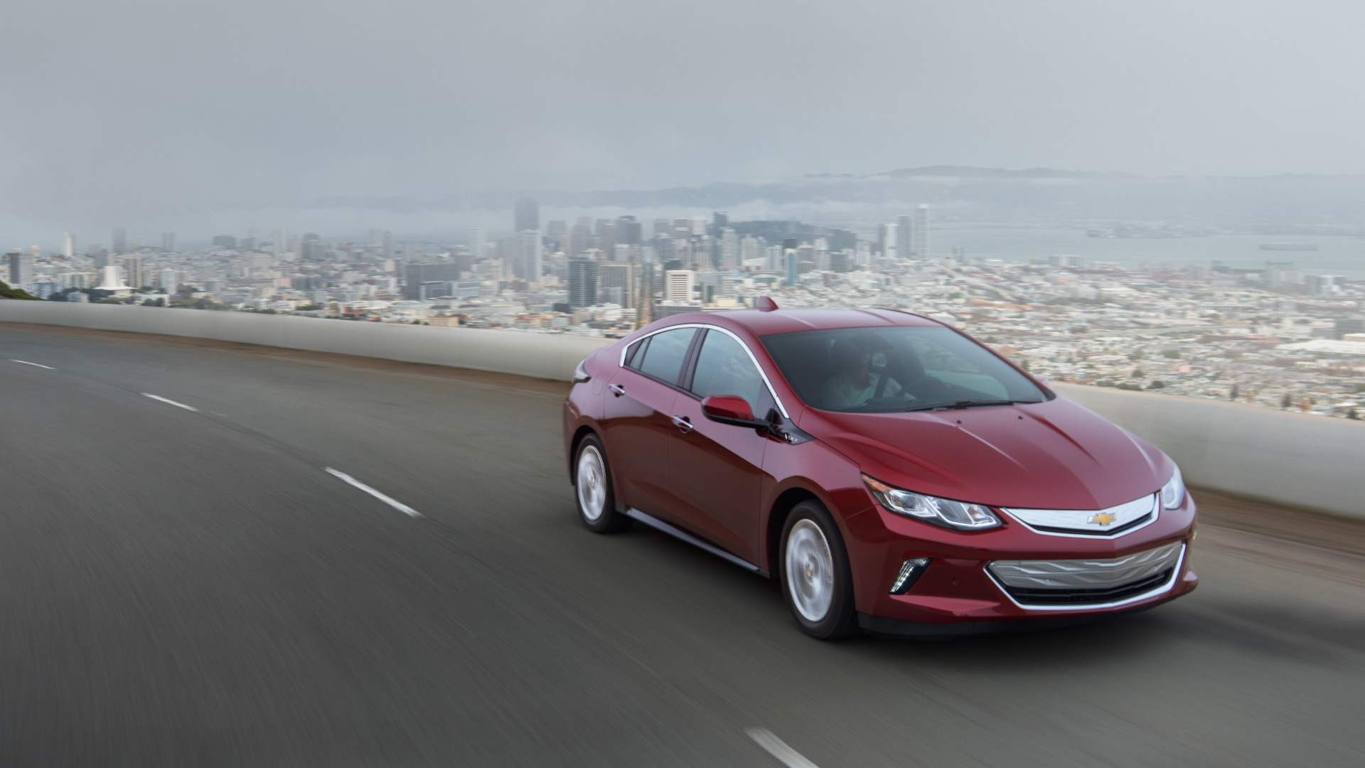 Valley Chevy Chevrolet 2017 Volt Red On Freeway