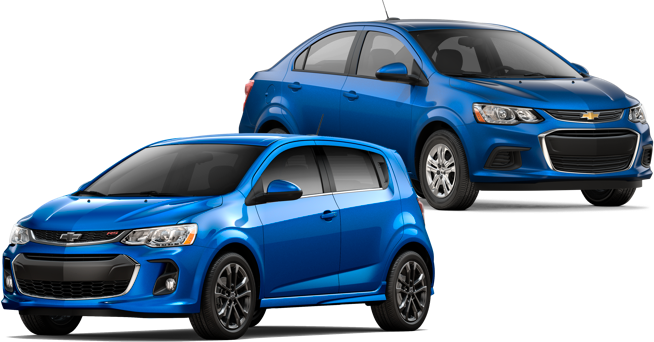 A couple of blue Chevy Sonics: hatchback and sedan