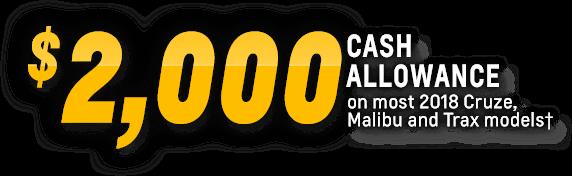 Total Cash Allowance Trax Malibu Cruze
