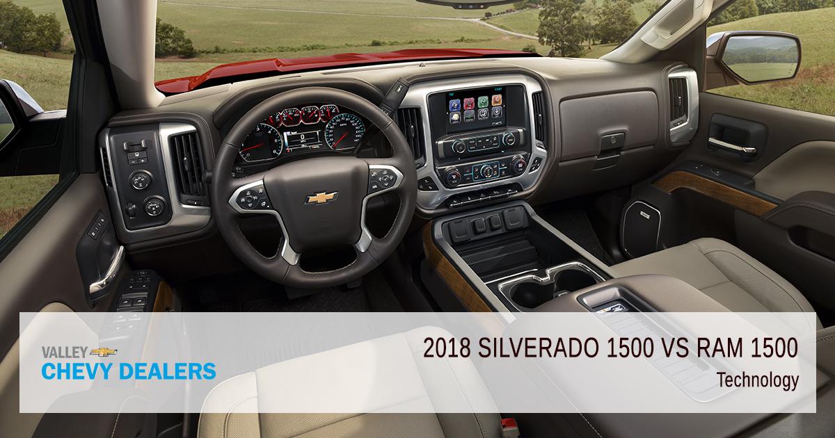 Valley Chevy - 2018 Chevrolet Silverado 1500 vs Dodge RAM 1500 Pickup - Technology