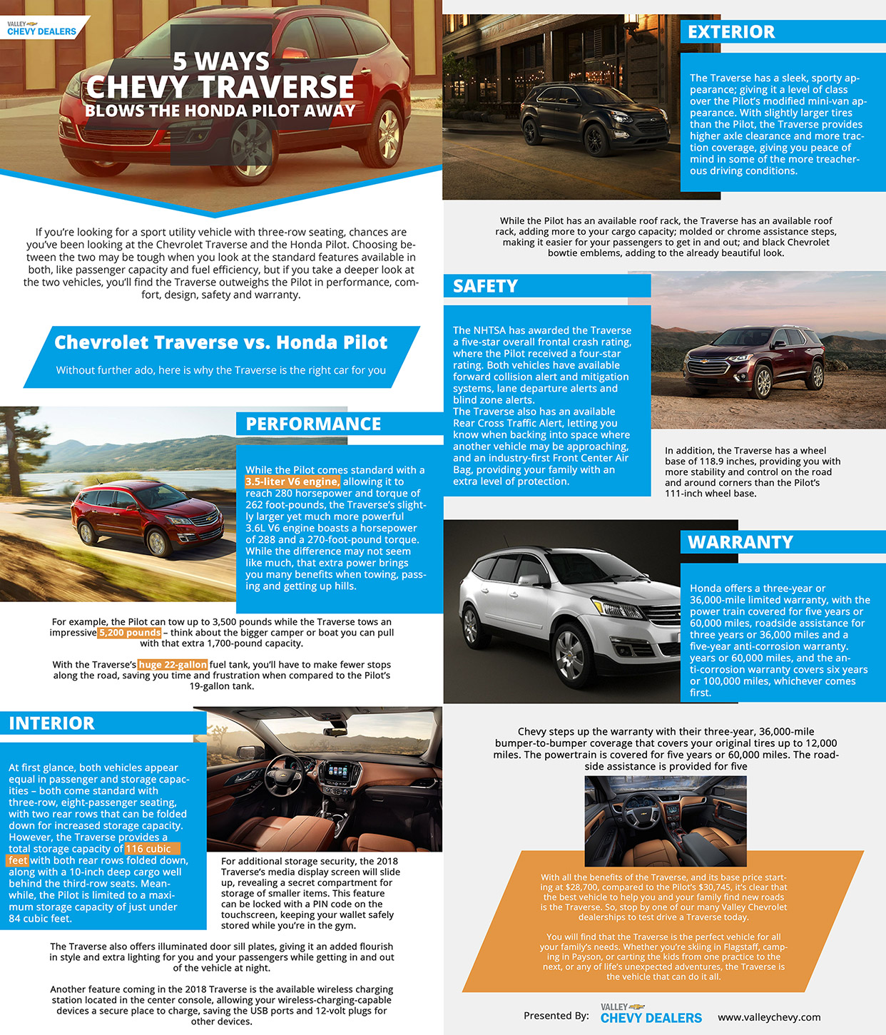 Valley Chevrolet - 5 Ways 2017 Chevy Travers Blows the Honda Pilot Away: INFOGRAPHIC